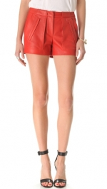 Red leather Smith shorts by ALC at Shopbop