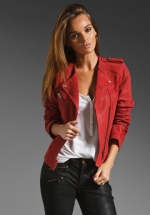 Red leather jacket like Lilys by Joie at Revolve
