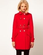 Red military style coat at ASOS at Asos
