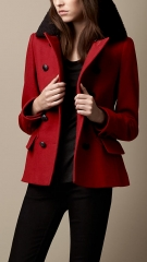 Red pea coat at Burberry