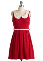 Red peter pan collar dress at ModCloth at Modcloth