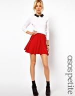 Red pleated skirt at ASOS at Asos