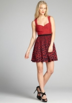 Red polka dot and heart print dress by ABS at Bluefly at Bluefly