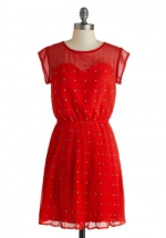 Red printed dress at Modcloth