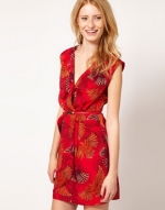 Red printed wrap dress like Quinns at Asos