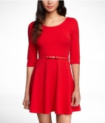 Red scoop neck dress at Express at Express