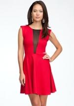 Red sheer back dress at Bebe at Bebe