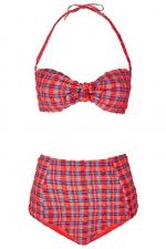 Red textured check bikini at Topshop at Topshop