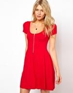 Red zip front dress at ASOS at Asos