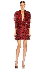 Redemption Draped Neck Leo Mini Dress in Bordeaux   FWRD at Forward
