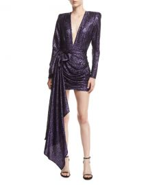 Redemption Plunging Metallic Jacquard Dress w Draped Side at Neiman Marcus