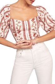 Reformation Romi Puff Sleeve Linen Top   Nordstrom at Nordstrom