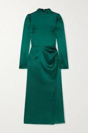 Reformation - Carmelina gathered silk-satin midi dress at Net A Porter