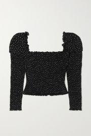 Reformation - Elisabetta cropped smocked polka-dot georgette top at Net A Porter