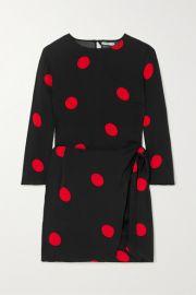 Reformation - Janae wrap-effect polka-dot crepe de chine mini dress at Net A Porter