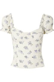 Reformation - Jewel cropped shirred floral-print crepe top at Net A Porter