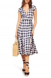 Reformation Calista Gingham Linen Midi Wrap Dress  Regular  amp  Plus Size    Nordstrom at Nordstrom