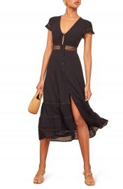 Reformation Garland Lace Trim Midi Dress   Nordstrom at Nordstrom