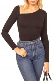 Reformation Les Asymmetrical Neck Long Sleeve Top   Nordstrom at Nordstrom