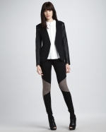 Reginas leather sleeve jacket by Theory at Neiman Marcus