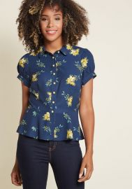 Regularly Scheduled Sass Button-Up Top in Floral by Collectif at Modcloth at Modcloth