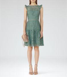 Reiss Cap Sleeve Lace Dress at Reiss