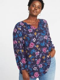 Relaxed Plus-Size Shirred Blouse at Old Navy