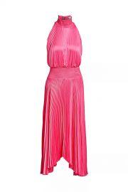 Renzo Pleated Satin Silk Dress at Orchard Mile