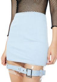 Replicant Clear Paneled Denim Skirt at Dolls Kill