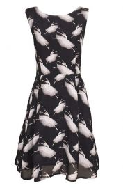 Retro Novelty Ballerina Printed A-Line Dress by Sidecca at Amazon