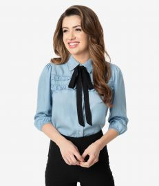 Retro Style Chambray Ruffle Neck Tie Button Up Blouse at Unique Vintage