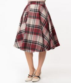Retro Style Red & Grey Plaid Wool Sofia Swing Skirt at Unique Vintage