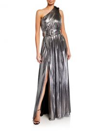 Retrofete Andrea One-Shoulder Belted Lame Maxi Dress at Neiman Marcus