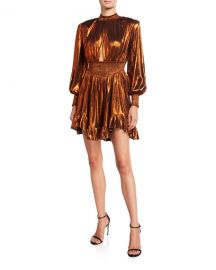 Retrofete Melody Metallic Lame Bishop-Sleeve Ruffle-Hem Mini Dress at Neiman Marcus