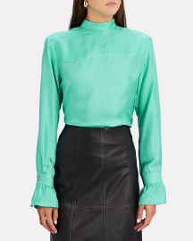 Reverse Tie Neck Silk Blouse at Intermix