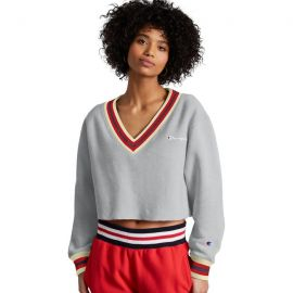 Reverse Weave Yarn Dye Rib Cropped Cut Off V-Neck, Embroidered Logo at Champion