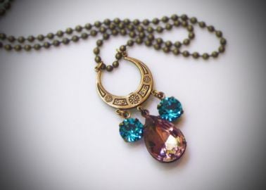 RewElliott Gatsby Style Crescent Necklace at Etsy