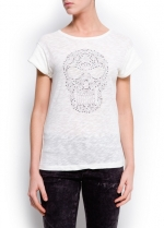 Rhinestone skull tee by Mango at Mango
