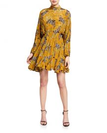 Rhode Caroline High-Neck Animal-Print Flounce Dress at Neiman Marcus