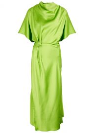 Rhode green draped satin midi dress at Harvey Nichols