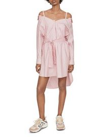 Riami Striped Cold-Shoulder Shirt Dress at Bloomingdales