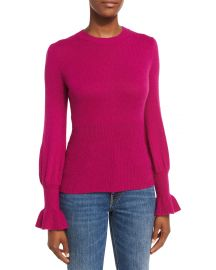 Ribbed Ruffle-Cuff Sweater at Neiman Marcus
