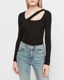 Ribbed Asymmetrical Cut-Out Thong Bodysuit at Express