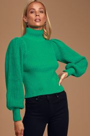 Ribbed Balloon Sleeve Turtleneck Sweater by Lulus at Lulus