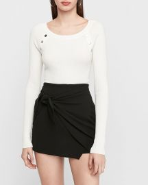 Ribbed Button Shoulder Sweater at Express