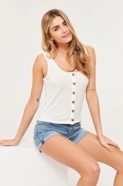 Ribbed Buttoned Tank Top at Ardene