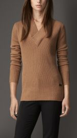 Ribbed Cashmere Vneck Sweater at Burberry