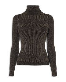 Ribbed Chevron-Knit Sparkle Turtleneck by Karen Millen at Bloomingdales