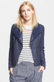 Ribbed Collar Leather Jacket at Nordstrom Rack