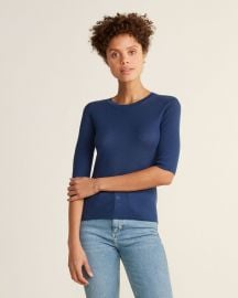 Ribbed Elbow Sleeve Wool Sweater by Vince at Century 21